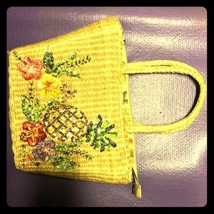 Vintage Straw and Sequin Tropical Purse